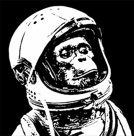 stencils - chimp in space stencil art Stock Photo - Budget Royalty-Free & Subscription, Code: 400-04907479