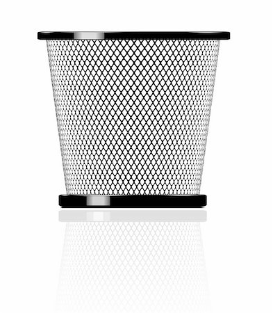 Realistic glossy trash. Vector icon illustration with reflection Stock Photo - Budget Royalty-Free & Subscription, Code: 400-04907521