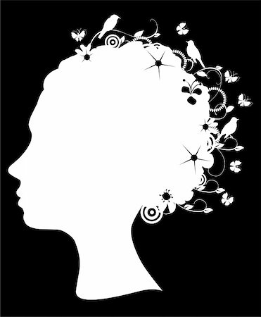 Vector illustration of a floral head silhouette Stock Photo - Budget Royalty-Free & Subscription, Code: 400-04907881