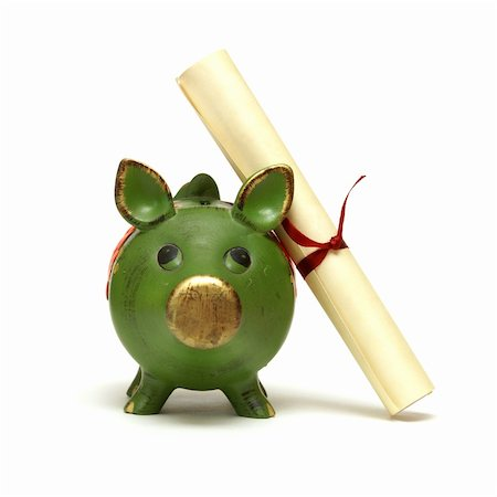 education loan - An isolated shot of a piggy bank and diploma scroll for saving for an education. Stock Photo - Budget Royalty-Free & Subscription, Code: 400-04908013