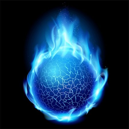 Blue fire ball. Illustration on black background for design Stock Photo - Budget Royalty-Free & Subscription, Code: 400-04908533