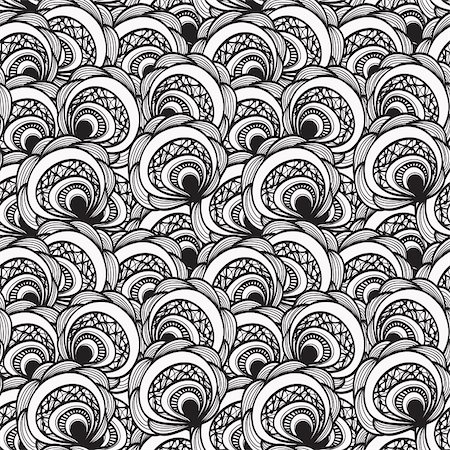 flower clipart paint - vector seamless abstract floral monochrome pattern, 4 clipping masks Stock Photo - Budget Royalty-Free & Subscription, Code: 400-04908554