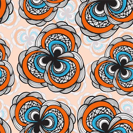 flower clipart paint - vector seamless abstract floral bright  pattern, 4 clipping masks Stock Photo - Budget Royalty-Free & Subscription, Code: 400-04908555