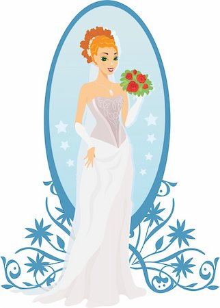 Happy bride with roses and mirror against ornament Stock Photo - Budget Royalty-Free & Subscription, Code: 400-04908928