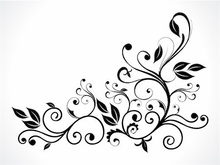 abstract black floral vector illustration Stock Photo - Budget Royalty-Free & Subscription, Code: 400-04909152