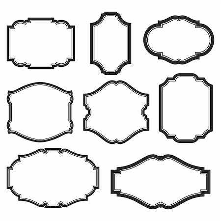 baroque simple set of black frames isolated on white Stock Photo - Budget Royalty-Free & Subscription, Code: 400-04900403