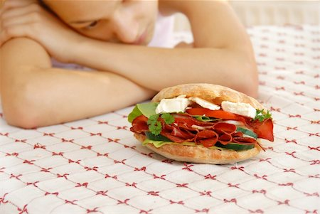 hungry girl hands teen girl by appetizing big sandwich with ham and cheese Stock Photo - Budget Royalty-Free & Subscription, Code: 400-04900623