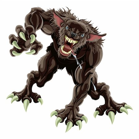 A fearsome werewolf monster attacking the viewer Stock Photo - Budget Royalty-Free & Subscription, Code: 400-04900651