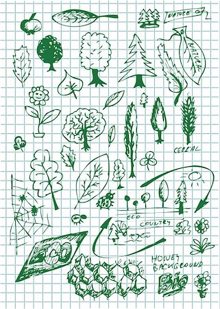 drawn curved - eco  bio and nature symbols on the school paper Stock Photo - Budget Royalty-Free & Subscription, Code: 400-04900945
