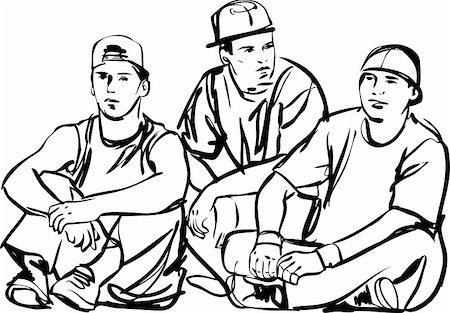 a black and white sketch of the guys Stock Photo - Budget Royalty-Free & Subscription, Code: 400-04901501