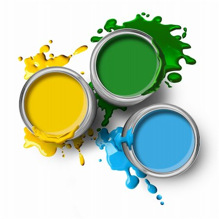 spot paint - Green blue yellow color paint cans with splashes on white background Stock Photo - Budget Royalty-Free & Subscription, Code: 400-04901591
