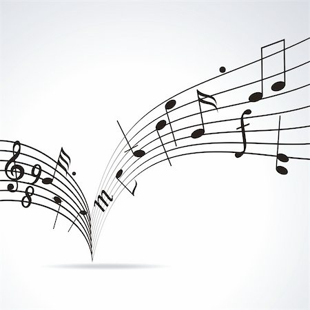 Music notes on staves. Vector music background. Stock Photo - Budget Royalty-Free & Subscription, Code: 400-04901974