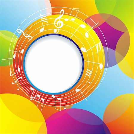 simsearch:400-04676325,k - Music background with notes and color circles. Stock Photo - Budget Royalty-Free & Subscription, Code: 400-04901973