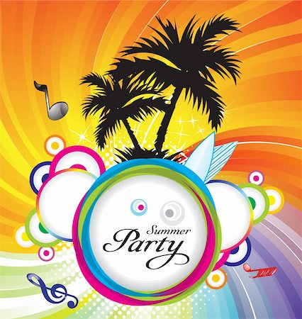 abstract summer party background  vector illustration Stock Photo - Budget Royalty-Free & Subscription, Code: 400-04902239