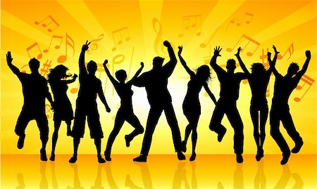 Silhouettes of people dancing on an orange starburst music background Stock Photo - Budget Royalty-Free & Subscription, Code: 400-04902669