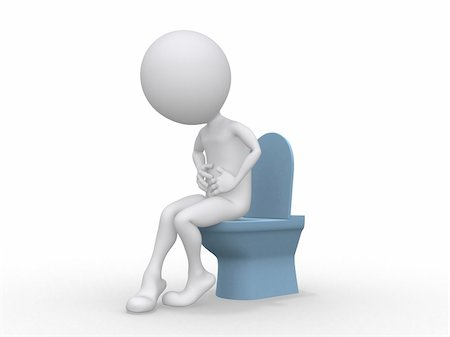 3D man with Intestinal problems sitting on the toilet Stock Photo - Budget Royalty-Free & Subscription, Code: 400-04902701