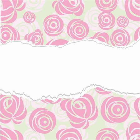 Torn paper, wrapping. Pink art vector rose pattern. Seamless flower background pattern. Fabric texture. Floral vintage design. Cute wallpaper. Cartoon feminine filigree tile. Stock Photo - Budget Royalty-Free & Subscription, Code: 400-04902784