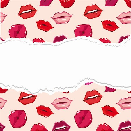 simsearch:400-04801287,k - Red torn lip seamless background, vector pattern. Woman smile, people kiss. Sweet, print illustration. Design element. Stock Photo - Budget Royalty-Free & Subscription, Code: 400-04902782