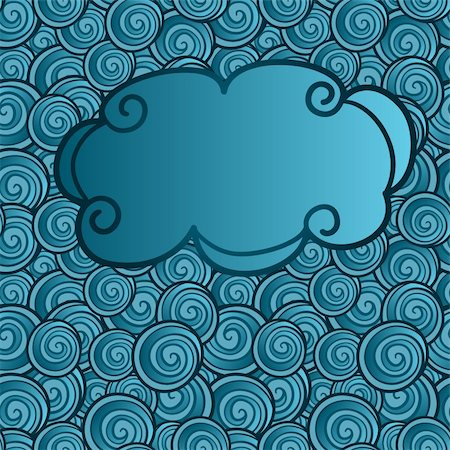 drawn curved - vector hand drawn cloud on abstract seamless background with waves Stock Photo - Budget Royalty-Free & Subscription, Code: 400-04903285