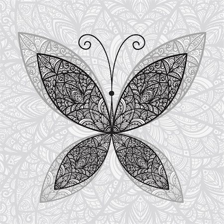 vector hand drawnabstract buttefly on floral background Stock Photo - Budget Royalty-Free & Subscription, Code: 400-04903292
