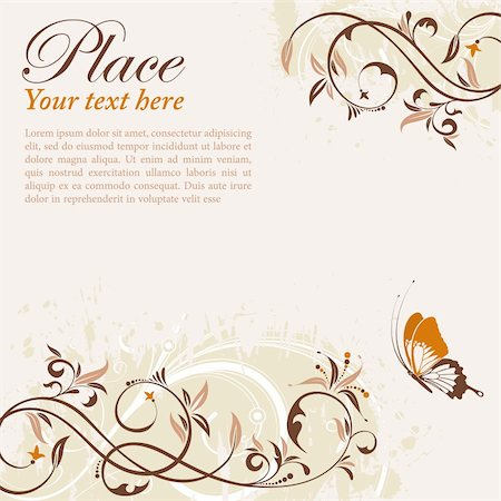 filigree designs in trees and insects - Flower Frame with Butterfly, element for design, vector illustration Stock Photo - Budget Royalty-Free & Subscription, Code: 400-04903347