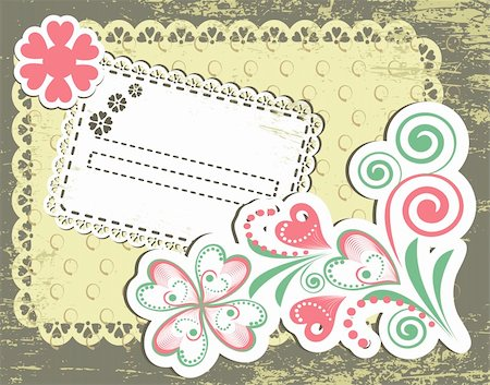 simsearch:400-04872199,k - Vintage flower frame design for greeting card on lace grange background Stock Photo - Budget Royalty-Free & Subscription, Code: 400-04914124