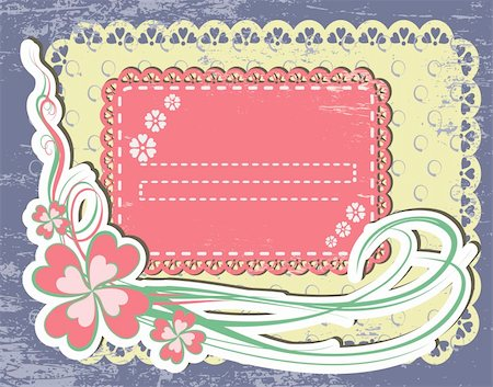 Vintage flower Frame Design For Greeting Card on lace grange background Stock Photo - Budget Royalty-Free & Subscription, Code: 400-04914125
