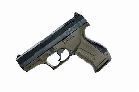 Image of a9mm handgun on a white background Stock Photo - Budget Royalty-Free & Subscription, Code: 400-04914706