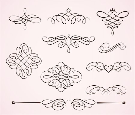 Vector illustration set of swirling flourishes decorative floral elements Stock Photo - Budget Royalty-Free & Subscription, Code: 400-04914935