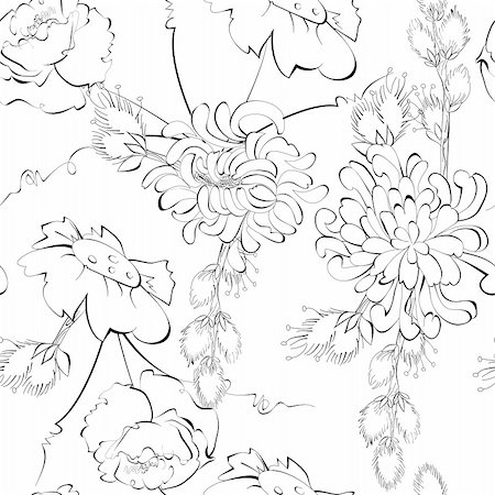 peony design vector - Monochrome seamless pattern Stock Photo - Budget Royalty-Free & Subscription, Code: 400-04915235