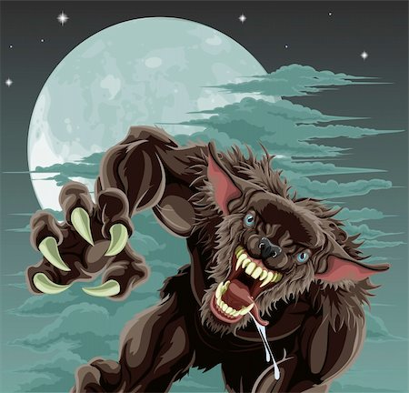 A frightening werewolf in front of moonlit sky. Halloween illustration. Stock Photo - Budget Royalty-Free & Subscription, Code: 400-04915521