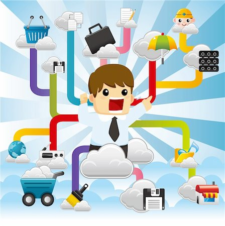 Cloud network,with business man. Stock Photo - Budget Royalty-Free & Subscription, Code: 400-04915536