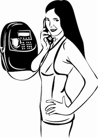 a sketch of a girl talking on pay phone Stock Photo - Budget Royalty-Free & Subscription, Code: 400-04915617