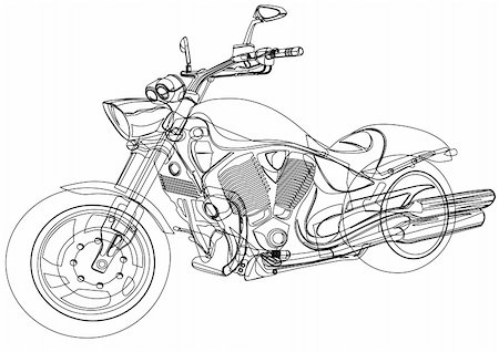 sports scooters - Vector drawing a big motorcycle Stock Photo - Budget Royalty-Free & Subscription, Code: 400-04915720