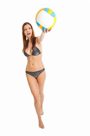 Beautilful volleyball player woman in swimwear. Isolated on white Stock Photo - Budget Royalty-Free & Subscription, Code: 400-04915846
