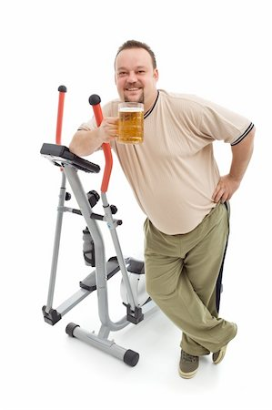 Overweight man having a beer after working out - isolated with a bit of shadow Stock Photo - Budget Royalty-Free & Subscription, Code: 400-04916170
