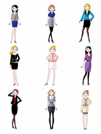 face woman beautiful clipart - cartoon pretty office woman worker icon set Stock Photo - Budget Royalty-Free & Subscription, Code: 400-04916333