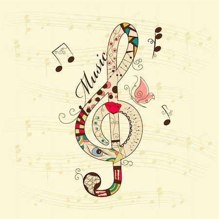 Vector musical background with treble clef Stock Photo - Budget Royalty-Free & Subscription, Code: 400-04917031