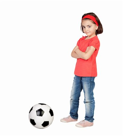 Brunette little girl with a soccer ball isolated on a over white background Stock Photo - Budget Royalty-Free & Subscription, Code: 400-04917700