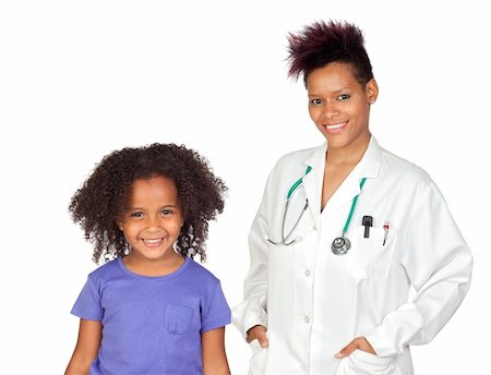 Pediatrician woman and pretty little girl isolated on white background Stock Photo - Budget Royalty-Free & Subscription, Code: 400-04917744