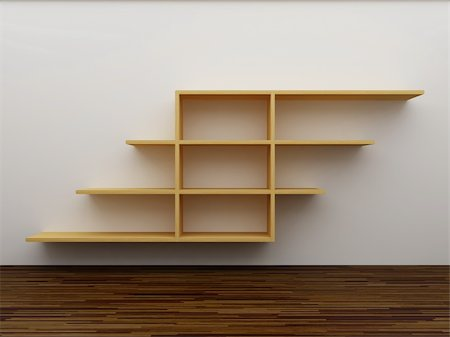 enki (artist) - Empty bookshelf on the wall Stock Photo - Budget Royalty-Free & Subscription, Code: 400-04918672