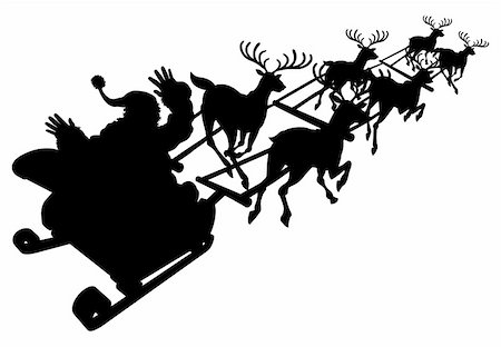 Santa in his Christmas sled or sleigh in silhouette Stock Photo - Budget Royalty-Free & Subscription, Code: 400-04918883
