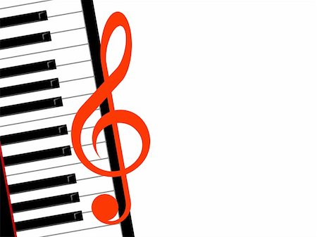 treble clef and piano on a white background Stock Photo - Budget Royalty-Free & Subscription, Code: 400-04919623
