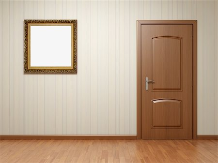enki (artist) - Empty room with wooden door and frame on striped wallpaper Stock Photo - Budget Royalty-Free & Subscription, Code: 400-04919784