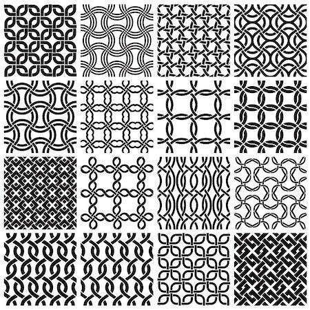 seamless - Set of black and white geometric seamless patterns. Vector backgrounds collection. Stock Photo - Budget Royalty-Free & Subscription, Code: 400-04910119