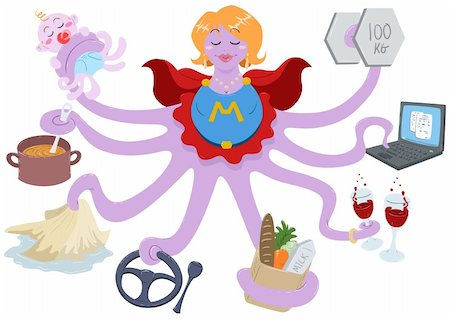 A Vector Illustration of an octopus mother dressed as a superhero and doing actions such as lifting weights, working on a laptop, having drinks, shopping for grocery, driving, cleaning, cooking and taking care of her baby. Stock Photo - Budget Royalty-Free & Subscription, Code: 400-04910135