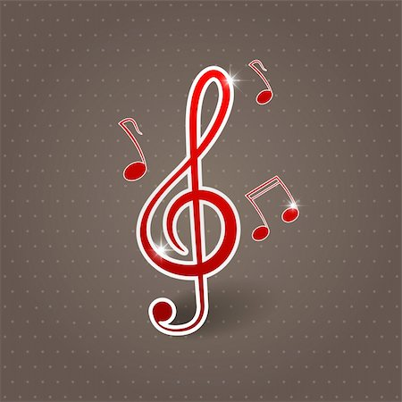 Vector musical background with treble clef Stock Photo - Budget Royalty-Free & Subscription, Code: 400-04910622