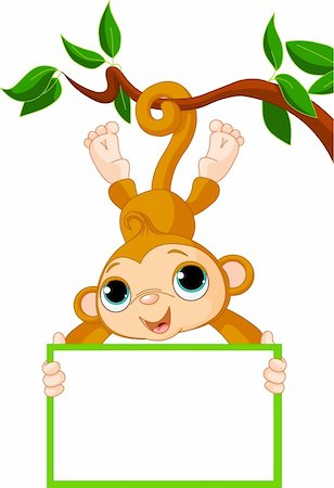 Cute baby monkey on a tree holding blank sign Stock Photo - Budget Royalty-Free & Subscription, Code: 400-04910680