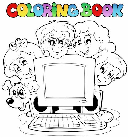 Coloring book computer and kids - vector illustration. Stock Photo - Budget Royalty-Free & Subscription, Code: 400-04911178