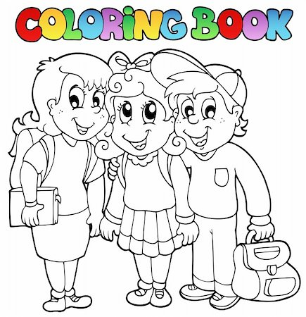 Coloring book school cartoons 6 - vector illustration. Stock Photo - Budget Royalty-Free & Subscription, Code: 400-04911185
